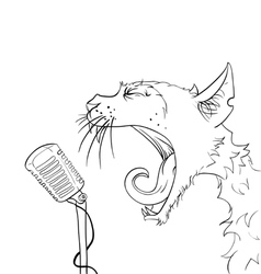 cats yelling microphone vector image