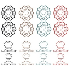 Collection of vintage retro bakery chef labels vector image