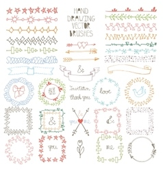 Hand drawn Doodle brushes wreath frame set vector image vector image