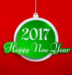 Happy new year 2017 cut from paper on red vector