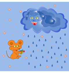 Mouse And Rain Cloud vector image vector image