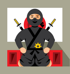 ninja and dojo flat style colorful cartoon vector image