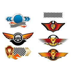 Racing sports emblems and symbols vector image vector image