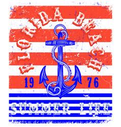 Summer beach anchor poster background in retro vector