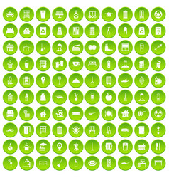 100 cleaning icons set green circle vector image vector image