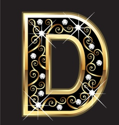 D gold letter with swirly ornaments vector image vector image