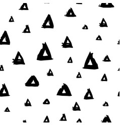 Seamless pattern with brush triangles black vector
