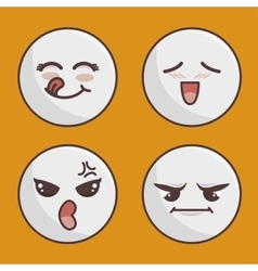 set of emoticons isolated icon design vector image
