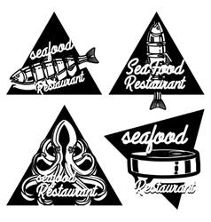 Vintage seafood restaurant emblems vector image vector image