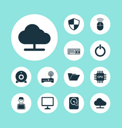 Computer icons set collection of desktop hdd vector