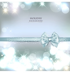 Elegant Christmas background with blue bow and vector image