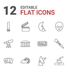 12 space icons vector