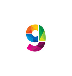 9 colorful letter logo icon design vector