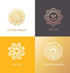 abstract logo design template in trendy linear vector image