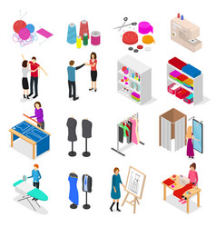 atelier studio concept set 3d isometric view vector image