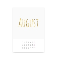August 2017 Calendar Page vector