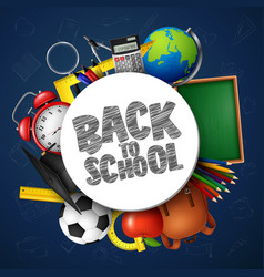 back to school banner with school supplies vector image