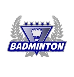 Badminton Tournament logo with flounce and laurel vector