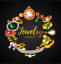 Beautiful jewelry accessories round concept vector