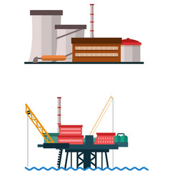Big industrial and factory building vector