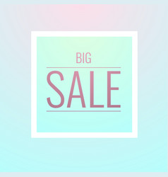 big sale banner in simple light colors style vector image