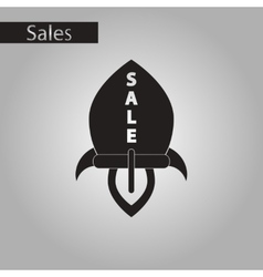 black and white style icon sale rocket vector image