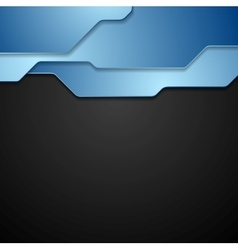 Blue and black tech corporate background vector
