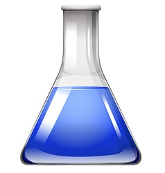 Blue liquid in glass beaker vector