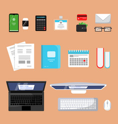 business top view finance topping stuff office vector image
