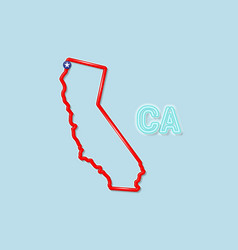 California us state bold outline map vector