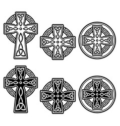 celtic irish cross design set - st patrick vector image
