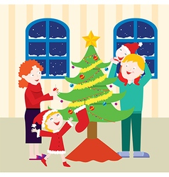 Cheerful family christmas vector