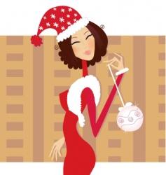 Christmas santa woman vector