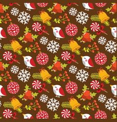 christmas seamless pattern with birds and berries vector image