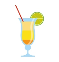 Cocktail drink lemon straw traditional brazil vector