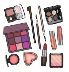 Color of makeup products vector