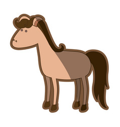 Colorful thick contour of horse brown clear vector