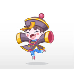 cute child in chinese zombie costume vector image