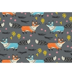 Cute seamless pattern with red and blue foxes vector image