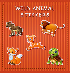 Cute wild animals cartoon on sticker vector