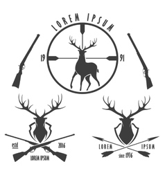 Deer hunting emblem set vector