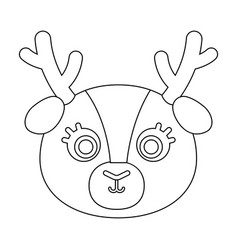 Deer muzzle icon in outline style isolated on vector