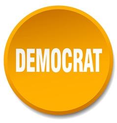 Democrat orange round flat isolated push button vector