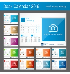Desk Calendar 2016 Set of 12 Months Print Template vector