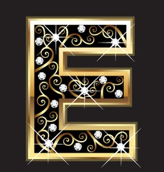 E gold letter with swirly ornaments vector image