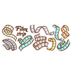 film strip for camera projector color set vector image