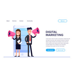 flat digital marketing concept businessman and vector image
