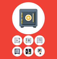 Flat icon closed set of banking protection vector