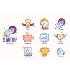 Flat icons for startup project vector