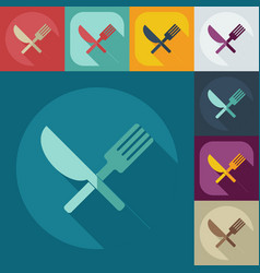 Flat modern design with shadow icons tableware vector